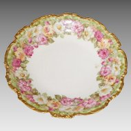 Limoges Jean Pouyat Hand Painted Roses Bowl