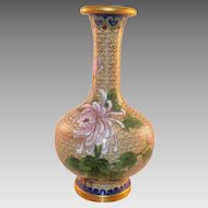 Chinese Cloisonne Vase With Flowers and Bird