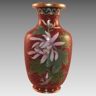 Chinese Small Cloisonne Vase With Flower and Leaves