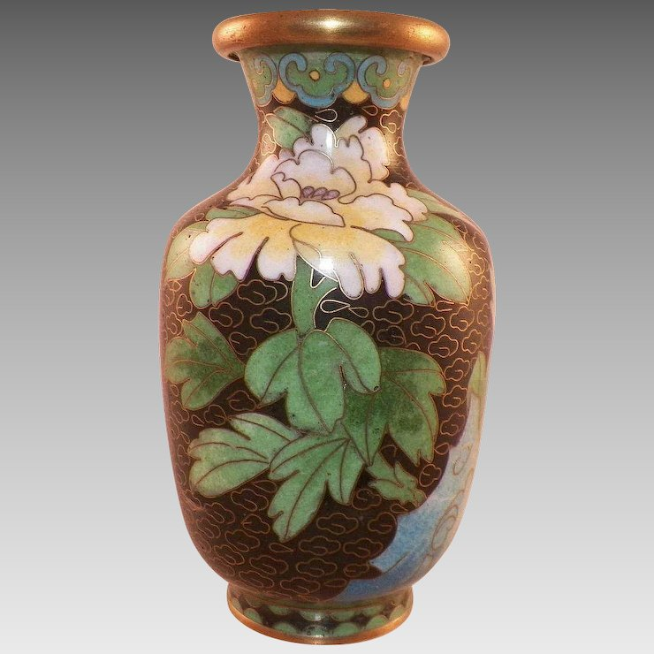 Chinese Cloisonne Vase With Flowers Black Background Klmantiques