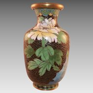 Chinese Cloisonne Vase With Flowers Black Background