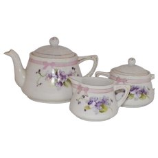Vintage Hand Painted Nippon Child's Tea Set With Violets