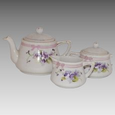 Vintage Hand Painted Nippon Child's Tea Set With Violets