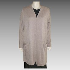 Long Beige Cashmere Cardigan Sweater Size L