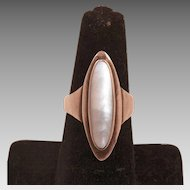 Brass and Mother Of Pearl Ring Size 7.25