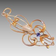 Edwardian 9KT Gold Pearl Simulated Sapphire Pendant