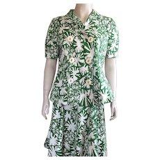 Oscar De La Renta Green and White Cotton Suit Size 12 - Red Tag Sale Item