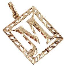 14K Yellow Gold Initial M Pendant