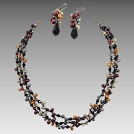 Three Strand Multi-Colored Pearl Necklace and Earrings Artist Made