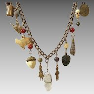 Vintage Brass Necklace With Very Interesting Charms