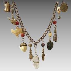 Vintage Brass Charm Necklace Very Interesting