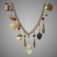 Vintage Heavy Brass Necklace With Charms Some Gemstones
