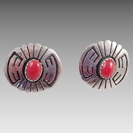 Native American Sterling Red Coral Pierced Earrings