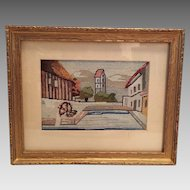 Old Hungarian Needlepoint Framed Picture