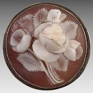 Vintage Round Floral Shell Cameo With 800 Silver Mount