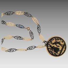 Art Deco Celluloid Silhouette Die Cut Pendant Necklace