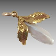 Vintage Gold and Mother-Of-Pearl Pendant / Charm