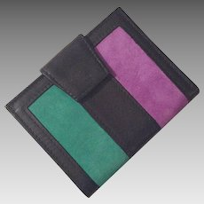 Vintage Unused Colorful Cowhide Leather and Suede Wallet By St. Thomas