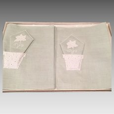 Vintage Green 100% Linen Luncheon Set Placemats Napkins