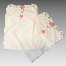 Pair Of White Linen Table Runners With Pink Crocheted Flowers
