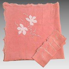 Vintage Embroidered Linen Bridge Cloth With Four Napkins