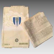 Japan Damask Cotton & Rayon Tablecloth / Napkin Set Never Used