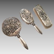 Hans Jensen Demark Three Piece Silver Plated Vanity Set