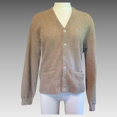 1950's Men's Beige Alpaca Cardigan Sweater