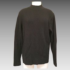 Men's Black Cashmere Cable Knit Pullover Sweater