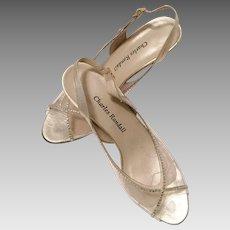 1960's Charles Randall Clear Plastic Rhinestone Sling Back Shoes 7 1/2