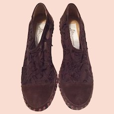 Italian Brown Suede Embroidered Shoes By Alex Of Italy Size 37