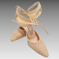 Manolo Blahnik Beige Woven Leather Shoes With Ties Size 37 1/2 Never Worn