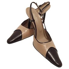 a4f3d5ed98 Max Mara Two Tone Leather Sling Back Shoes Made In Italy Size 38 Never Worn  -