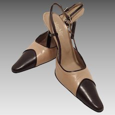 Max Mara Two Tone Leather Sling Back Shoes Made In Italy Size 38 Never Worn