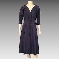 1950's Navy Blue Silk Grosgrain Dress