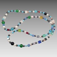 Vintage Hematite, Pearl and Colored Glass Beaded Necklace