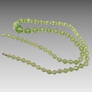 Czech Light Green Crystal Graduated Beads With Rock Crystal Spacers