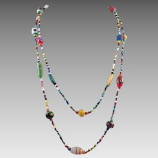 Vintage Long Italian and Seed Bead Necklace