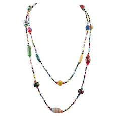 Vintage Long Seed Bead and Italian Bead Necklace