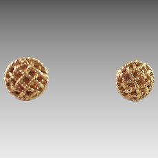 18K Yellow Gold Filigree Pierced Earrings