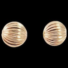 14K Yellow Gold Round Ribbed Pierced Earrings