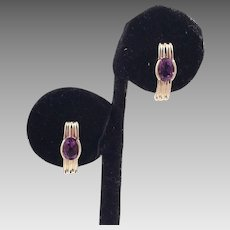 14K Half Hoop Earrings With Amethysts