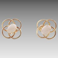 14K Gold and Opal Open Knot Pierced Earrings