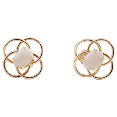 14K Gold and Opal Open Knot Pierced Earrings