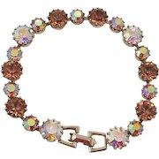 Weiss Aurora Borealis and Brown Rhinestone Bracelet