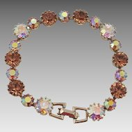 Weiss Aurora Borealis and Brown Rhinestone Bracelet