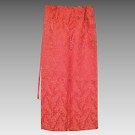 Vintage Coral Satin Damask Shawl Wrap with Faux Pearls and Sequins
