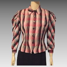 Vintage Plaid Taffeta Button Down Blouse