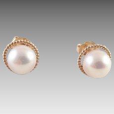 14K Gold and Genuine Pearl Pierced Earrings