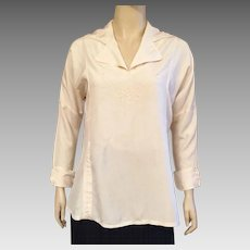 Vintage 1920's Cream Silk Blouse With Beading Size L